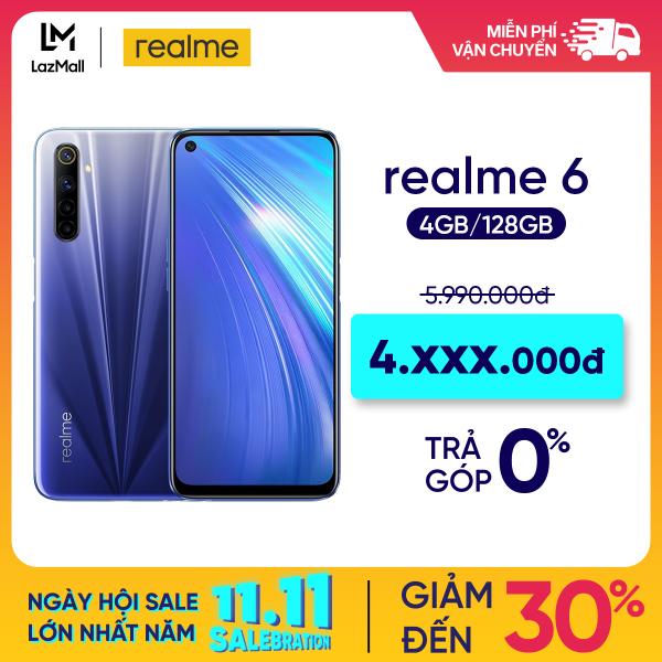 TRẢ GÓP 0% Điện thoại Realme 6 (4GB/128GB) - Màn hình Full HD+ 6.5 4 Camera sau64 MP Quay phim 4K Camera trước 16 MP Mediatek Helio G90T Pin 4300 mAh - Hàng chính hãng bảo hành 12 tháng