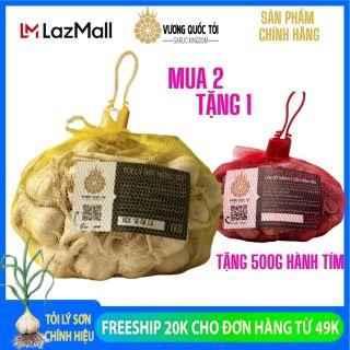 Tỏi Lý Sơn chính gốc - Vương Quốc Tỏi - nhiều tép loại original - túi lưới 1Kg - Hương vị đặc biệt, gia vị không thể thiếu trong nhà bếp, bàn ăn.. thumbnail