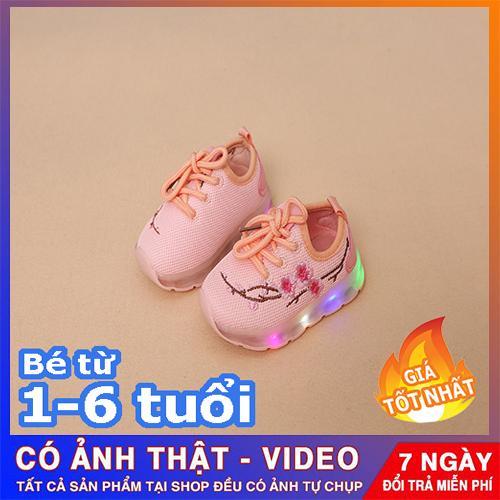 Giá bán Giày thể thao cho bé gái - giày trẻ em phát sáng - thêu hình hoa đào
