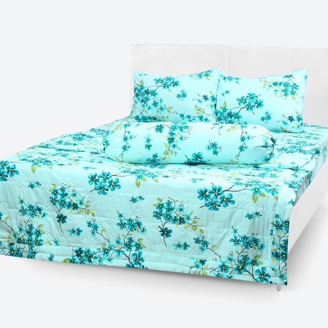 Chăn/Mền Cotton Thắng Lợi chần gòn hình hoa nhí xanh ngọc kích thước 1m7x2m