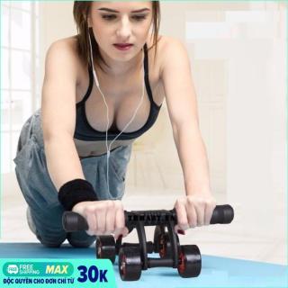 Con lăn tập cơ bụng 4 bánh cao cấp KAMA Ab Roller,dụng cụ tập thể hình,tập GYM,dụng cụ tập thể lực, dụng cụ tập cơ bụng sáu múi + Tặng 1 thảm tập GYM cao cấp (Đen phối đỏ) - con lăn tập bụng, con lăn 4 bánh thumbnail