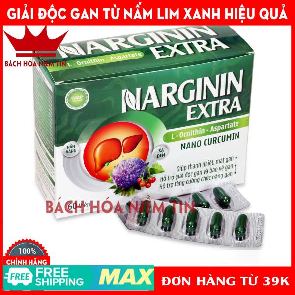 Viên uống NARGININ - Nano curcumin, Nấm Lim xanh, xạ đen, cà gai leo - Giúp thanh nhiệt, giải độc gan hiệu quả - Hộp 60 viên chuẩn GMP Bộ y tế