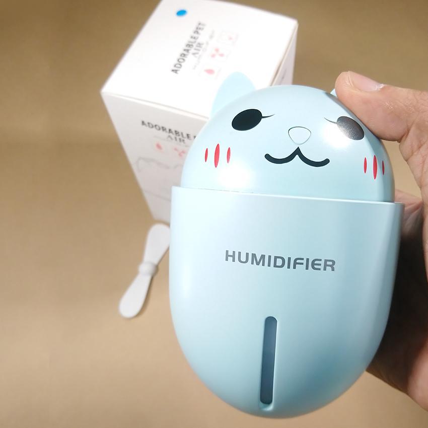 Máy phun sương tạo ẩm cao cấp 3IN1 - Hình con mèo ( kèm quạt + đèn USB)