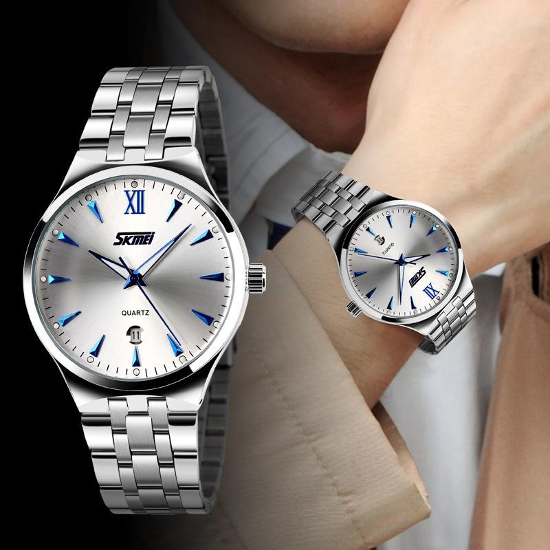 Đồng hồ nam đeo tay SKMEI dây thép không gỉ có lịch ngày cao cấp High Fashion