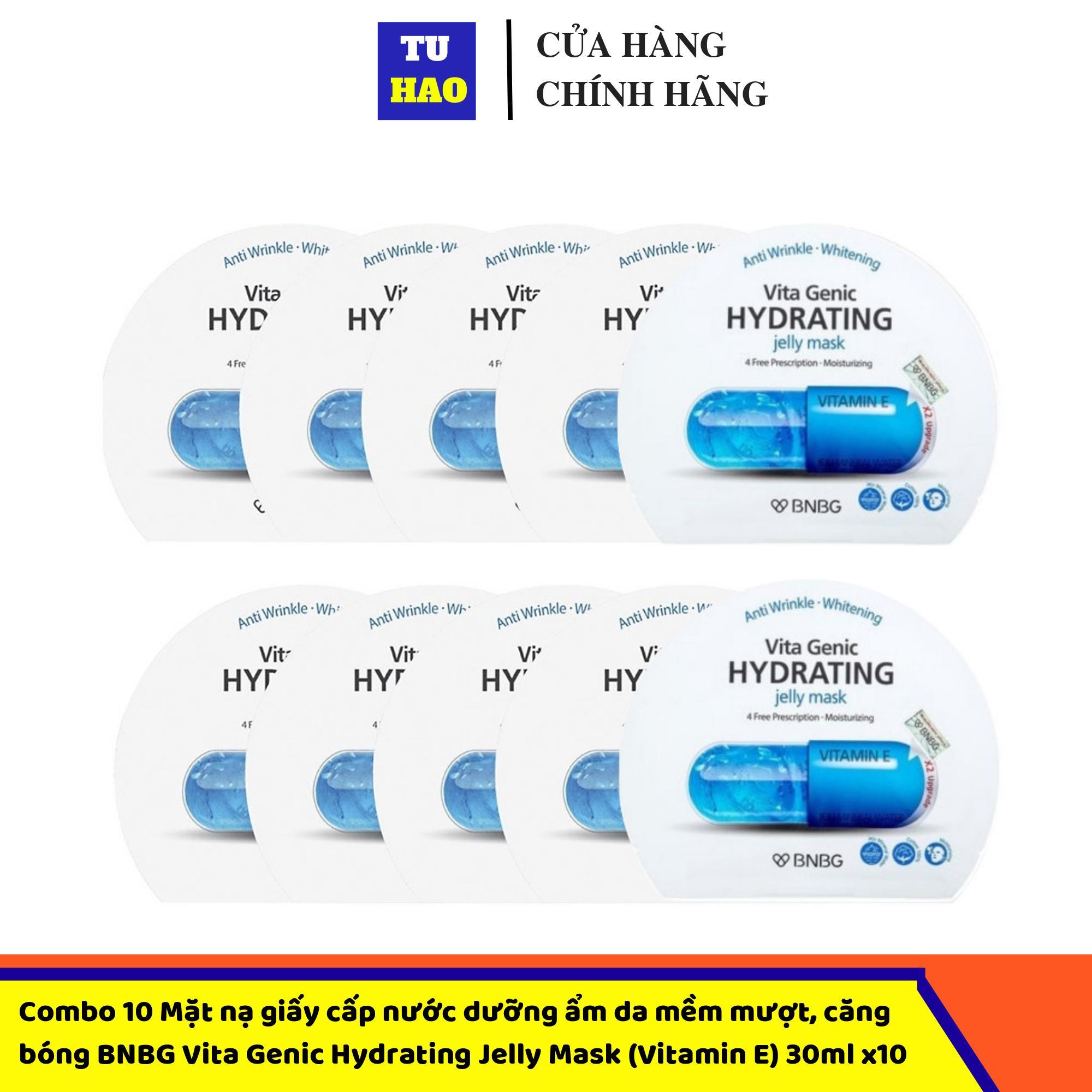 Hộp 10 Mặt nạ giấy cấp nước dưỡng ẩm da mềm mượt, căng bóng BNBG Vita Genic Hydrating Jelly Mask (Vitamin E) 30ml x10 cao cấp