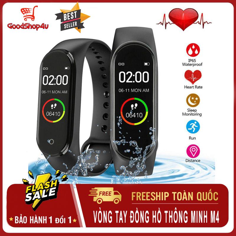 Vòng đeo tay thông minh, đồng hồ thông minh thể thao chống nước hỗ trợ theo dõi sức khỏe (đo bước chân, nhịp tim, huyết áp…) kết nối bluetooth không dây [GoodShop4u]