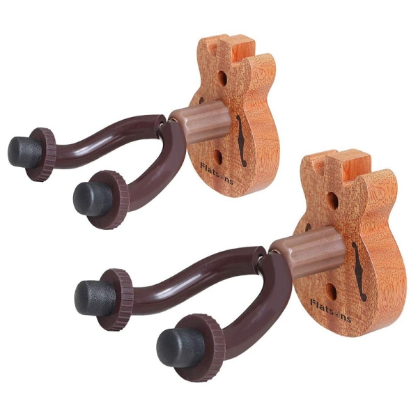 Flatsons FH-06W Wood Guitar Hanger and Guitar Hanger Wall Hook Holder Stand for Bass Electric Acoustic Guitar Ukulele (Brown 2 Pack)