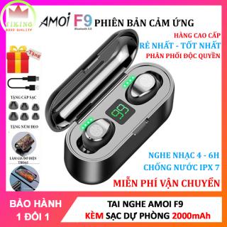 Tai Nghe Bluetooth Amoi F9 Tai Nghe Không Dây F9 Công Nghệ Bluetooth 5.0 Kén Sạc 2000 Mah Kiêm Sạc Dự Phòng Nút Điều Khiển Cảm Ứngchống Thấm Nước Chống Bụi Dùng Cho Mọi Điện Thoại 4