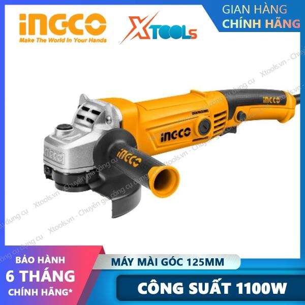 Máy mài cầm tay INGCO AG10108 công suất 1100W. Máy mài góc, máy cắt cầm tay đa năng đĩa cắt 125mm kèm tay cầm - Sản phẩm chính hãng [XSAFE][XTOOLs]
