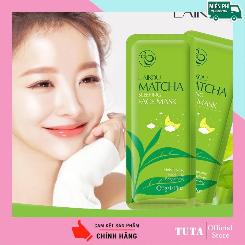 TUTA - Combo2 miếng Mặt nạ ngủ Matcha LAIKOU dưỡng ẩm, chống lão hóa và ngăn bã nhờn cho da kết hợp phục hồi da, lẻ 1 gói 3g MATNA-MATCHA giá rẻ