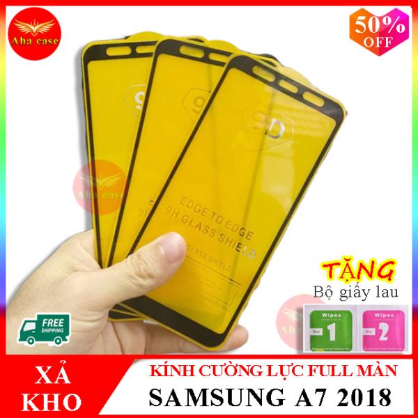 Kính cường lực SAMSUNG A7 2018 ,Kính cường lực samsung A750 FULL màn hình , Tặng kèm giấy lau ướt và giấy lau khô, Aha Case