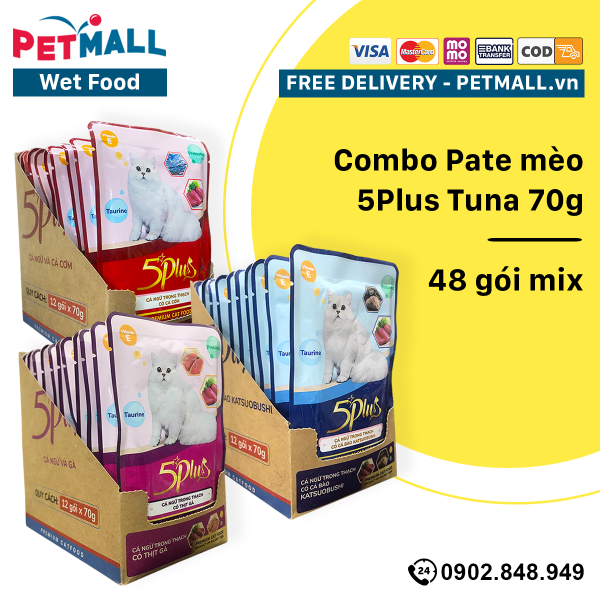 Combo Pate mèo 5Plus Tuna 70g - 48 gói mix Petmall