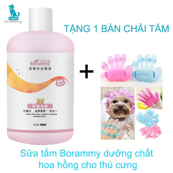 Sữa tắm cho chó mèo BORAMMY - Sữa tắm cho chó thơm lâu hương nước hoa duỡng chất hoa hồng nuôi dưỡng lông Sữa tắm trị ve rận cho chó - sữa tắm cho chó poodle - Sữa tắm cho chó lông trắng, lông nâu đỏ