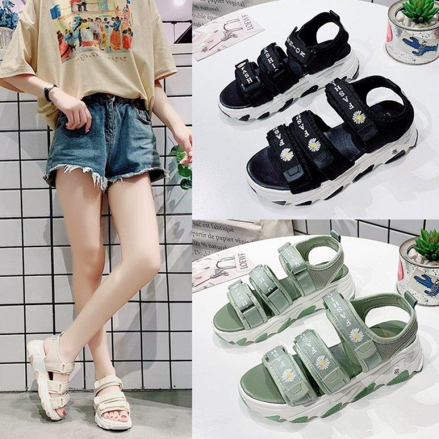 Sandal Nữ Fashion 3 Quai Hình Hoa Cúc Hottrend 2020 Đế Tripel Cao 4cm giá rẻ