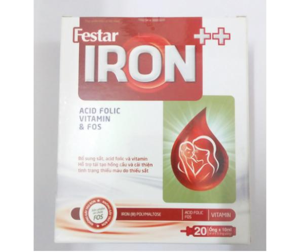 Bổ sung sắt, acid folic cho người thiếu máu, phụ nữ mang thai và sau sinh -  Festar IRON++ dạng ống, thơm ngon, không tanh, không gây táo bón - Hộp 20 ống