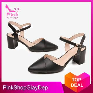 (Có mã miễn ship) Giày nữ, giày cao gót 5 phân bít mũi PinkShopGiayDep thumbnail