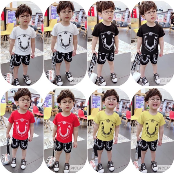 ❤️ BÁN CHẠY NHẤT SHOP ❤️ Bộ quần áo ngắn tay bé trai hình ngôi sao may mắn 7-18kg