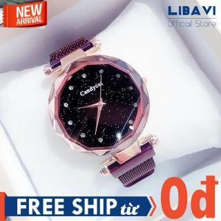 Đồng hồ nữ Candycat C49, đồng hồ mặt tròn, chạy 3 kim, dây đeo kim châm lưới kim loại, kháng nước, chống trầy nhẹ (nhiều màu) thumbnail