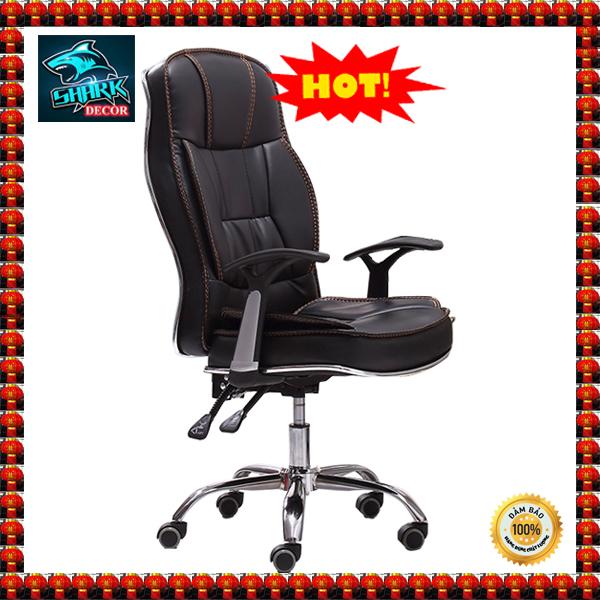 (XẢ TỒN TẾT 3 NGÀY) Ghế tựa lưng làm việc, ghe xoay van phong, office chair, ghế văn phòng Ghế Xoay da PU Khung Thép tĩnh điện ngả 155*  KT : 128 x 60 x 60 cm  ( Màu Đen)- SharkDecorHN giá rẻ