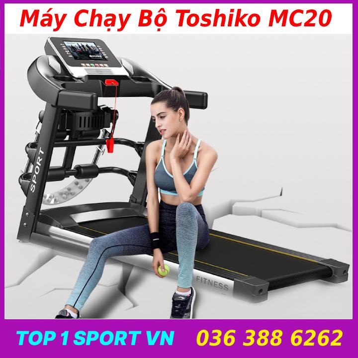 Máy tập chạy bộ điện Toshiko mc20 đa chức năng - Tặng kèm đai massage + giá tập cơ bụng  -Bảo hành 36 tháng