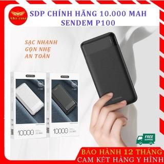 [Mẫu Mới] Pin sạc dự phòng Sendem P100 thiết kế sang trọng, nhỏ gọn, dung lượng 10.000 MAH , sạc 3-4 lần cho điện thoại, có đèn báo dung lượng pin, hàng chính hãng, bảo hành 1 năm, 1 đổi 1. thumbnail