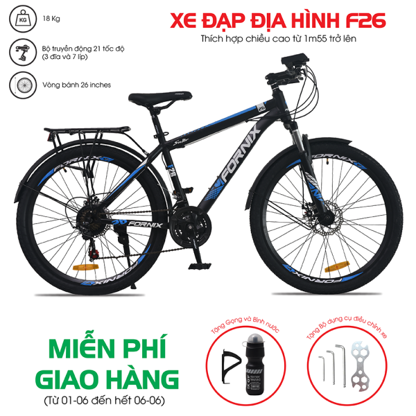 Mua Xe đạp địa hình thể thao Fornix F26 (KÈM SÁCH HƯỚNG DẪN LẮP RÁP) + Tặng Gọng và bình nước + Bộ lắp ráp - Bảo hành 12 tháng