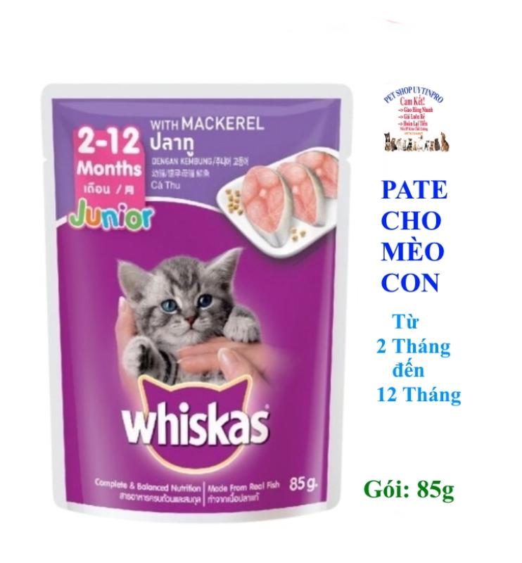 PATE XỐT CHO MÈO NHỎ Whiskas Vị cá thu Gói 85g Bổ sung dinh dưỡng Xuất xứ Thái Lan