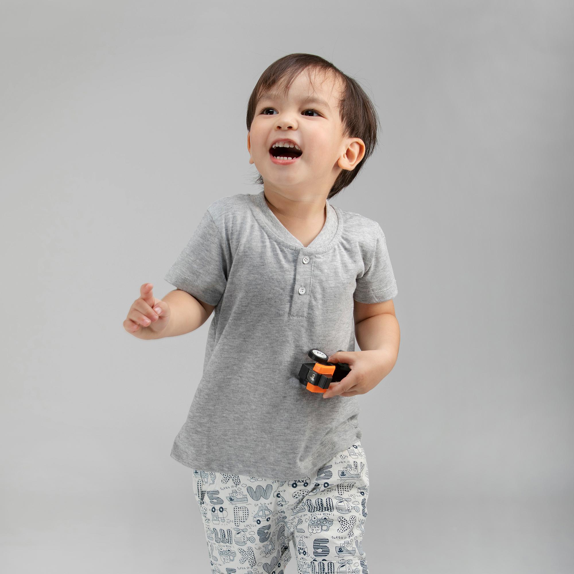 Áo thun cổ trụ BAA BABY ngắn tay in họa tiết cho bé trai từ 9 tháng-5 tuổi - BT-AT05N