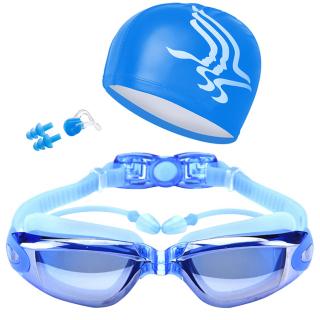 Sét Mũ Kèm Kính Bơi, Combo Kính Bơi Mũ Bơi, Kính Bơi UV Kèm Mũ Bơi Và 2 Nút Bịt Tai, Thiết Kế Thông Minh, Thoải Mái Bơi Lội thumbnail
