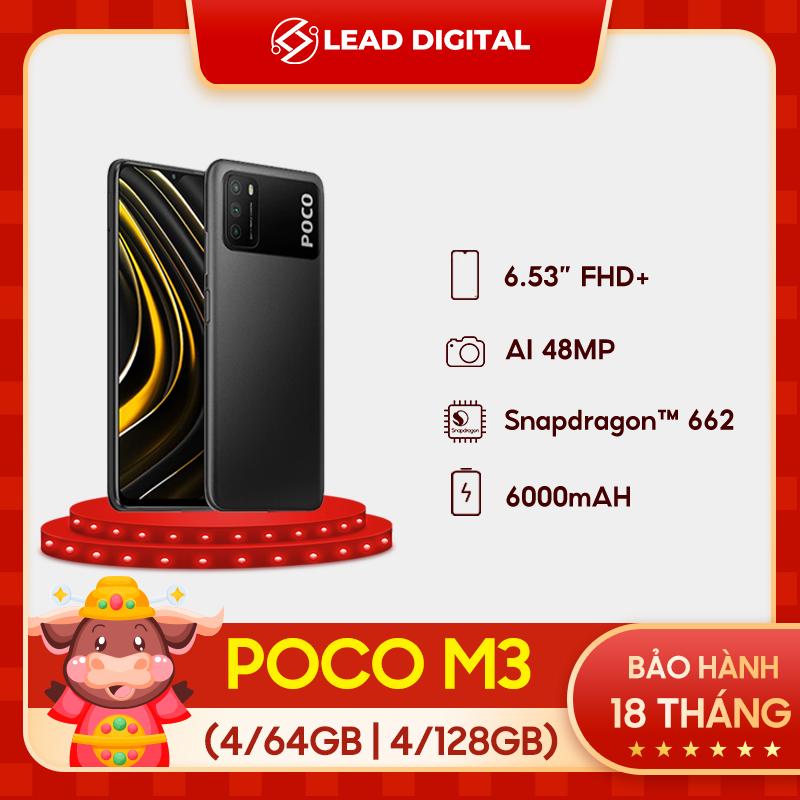 [BẢN QUỐC TẾ] Điện thoại POCO M3 4GB/64GB   4GB/128GB - Chip Snapdragon 662, Màn hình 6.53, Pin 6,000mAH, Sạc nhanh 18W, Camera sau 48MP, Android 10, MIUI 12 - BH Chính hãng 18 tháng