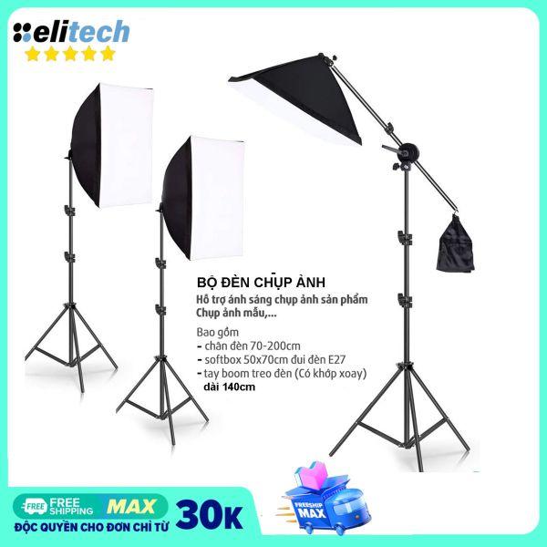 [Nhập ELJAN11 giảm 10%, tối đa 200k, đơn từ 99k]Bộ đèn chụp ảnh sản phẩm đèn studio quay phim livestream chuyên nghiệp bộ gồm chân đèn 2m kèm softbox 50x70cm. Chân đèn làm bằng hợp kim nhôm chắc chắn có thể gấp gọn.