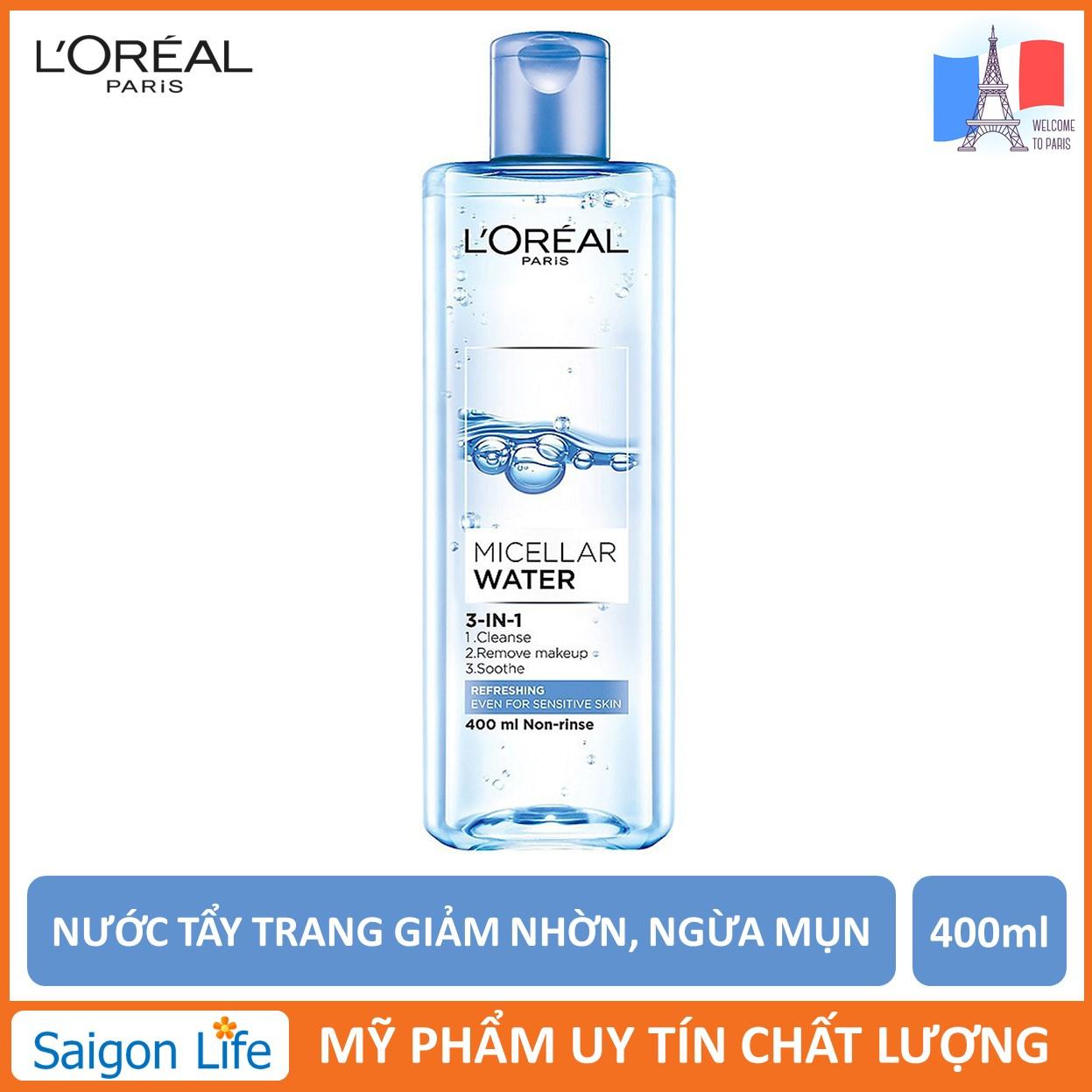 Nước Tẩy Trang Tươi Mát, Giảm Nhờn, Ngừa Mụn L'Oreal Paris 3-in-1 Refreshing Micellar Water 400ml (Xanh Nhạt)