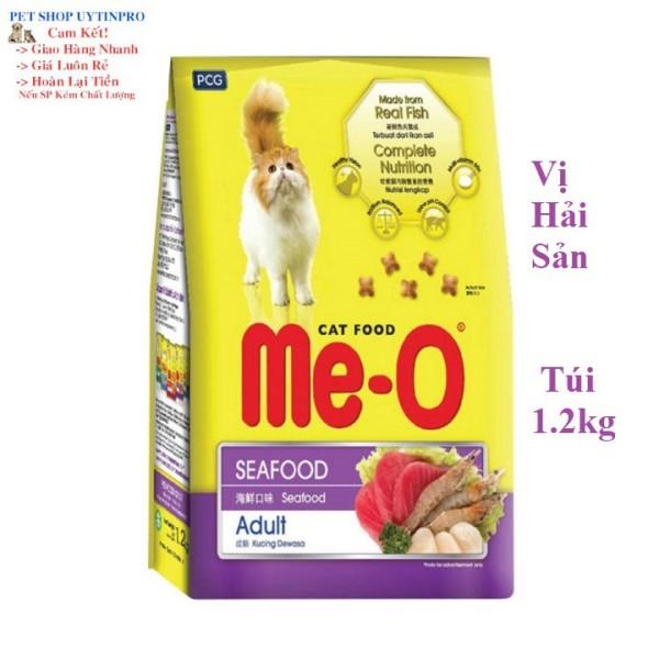 THỨC ĂN MÈO LỚN Me-O Dạng hạt Vị hải sản Túi 1.2kg Xuất xứ Thái Lan