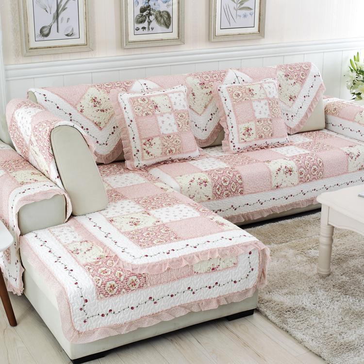 Korean Style Garden Pink Patchwork Pure Cotton Sofa throw pillow Quilted throw pillow Cotton Sofa Cover Four Seasons Mat Window throw pillow
