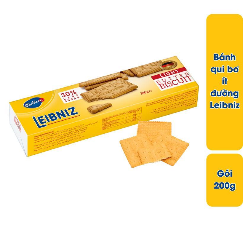 Bánh quy bơ ít đường Leibniz Đức gói 200g dùng bơ tự nhiên và dầu hướng dương, bánh thơm ngon giòn tan