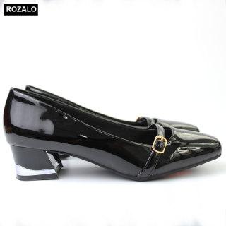 Giày nữ cao gót 3P da bóng gót viền kim loại Rozalo R6803 thumbnail