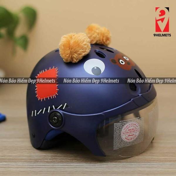 Giá bán Mũ Bảo Hiểm Trẻ Em Có Kính Hình Gấu Xanh Mực