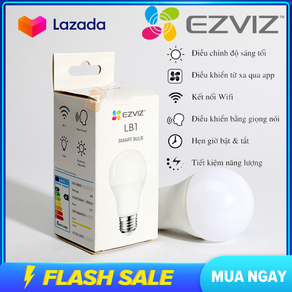 (BẢO HÀNH 12 THÁNG) Bóng đèn thông minh EZVIZ LB1 -Màu Trắng và có thể thay đổi MÀU SẮC- Điều khiển bằng điện thoại , thay đổi độ sáng tối màu sắc , thời gian bật tắt đèn