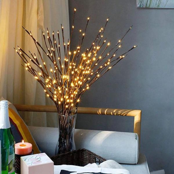 Đèn LED Cây cổ tích Đèn pin Nguồn điện Trang trí đám cưới Sân ngoài trời Phòng khách Đèn bàn Ánh sáng bố trí Bình Filler Willow Twig Đèn