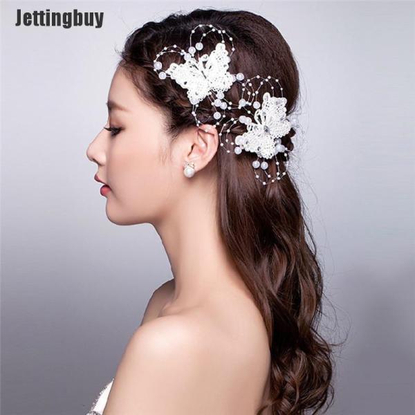 Jettingbuy 1x Bướm Tóc Clip Cô Dâu Mũ Ren Ngọc Trai Handmade Thời Trang Cưới Mới nhập khẩu