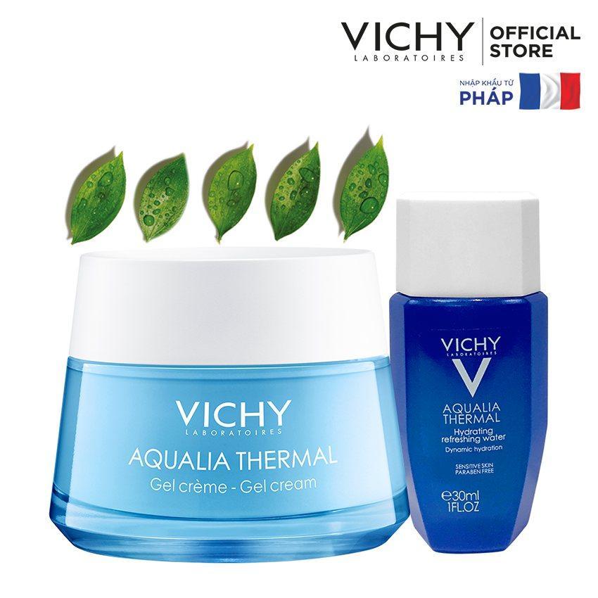 Bộ sản phẩm dưỡng ẩm giúp da dịu mát cho da dầu, da hỗn hợp Vichy Aqualia Thermal Gel Cream 50ml