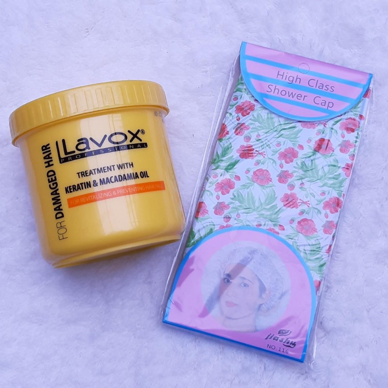 Hấp dầu Nano Collagen Lavox 500ml Ngừa rụng tóc, gãy rụng (tặng nón trùm tóc)