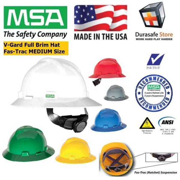 Nón bảo hộ có vành MSA 475369 V-Gard Slotted Safety Full Brim Hat Fas-Trac Suspension White