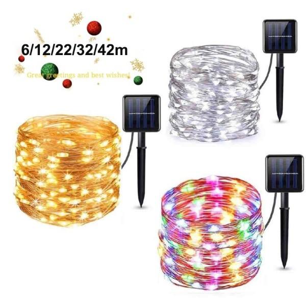 Bảng giá 【Năm mới】 đèn Giáng sinh năng lượng mặt trời ngoài trời, dải đèn LED 42/32/22/12 / 6M, không thấm nước, phát sáng trong bóng tối đèn LED sạc lại được, 2/8 chế độ làm việc, 600/800/1200mAH