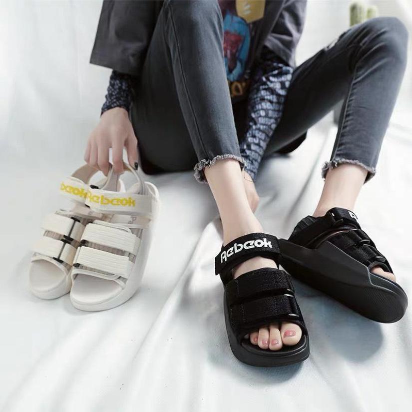 (2 màu kèm video) Sandal nữ thời trang chữ RerBock 2 màu chất đen màu đen màu kem trẻ trung giá rẻ