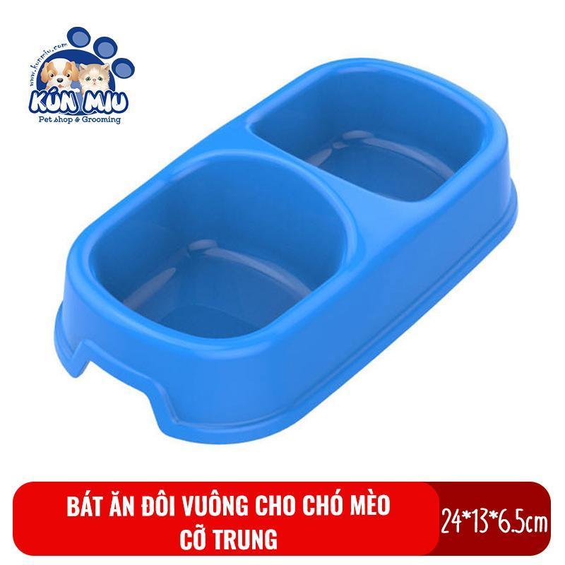 Bát ăn đôi vuông cỡ vừa cho chó mèo Kún Miu - Bát ăn cho thú cưng