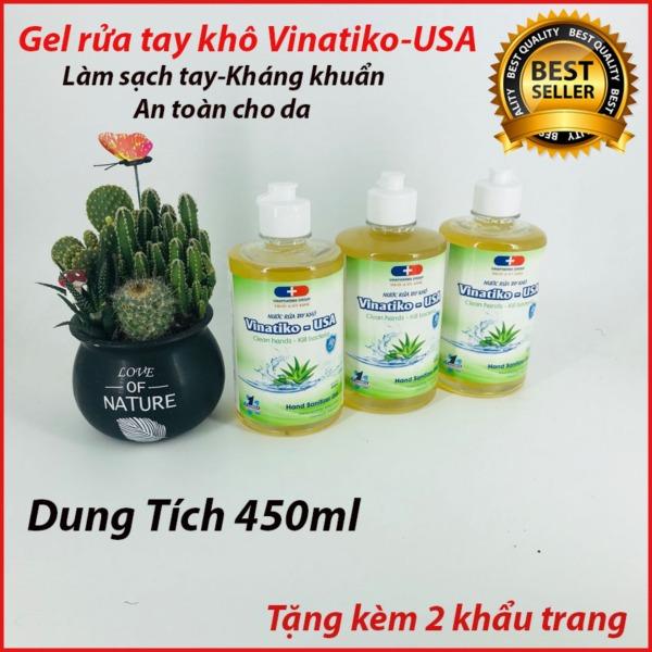 {450ml} Gel rửa tay khô Vinatiko bảo vệ khỏi vi khuẩn virus ngăn ngừa dịch bệnh dung tích lớn nhập khẩu