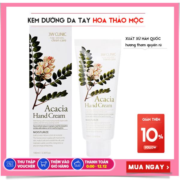 Kem Dưỡng Da Tay 3W Clinic Acacia Hand Cream hương thảo mộc 100ml