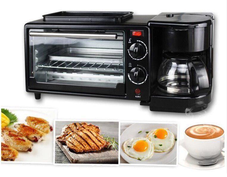 Lò nướng kiêm máy pha cà phê KZC-9L-K-Máy nướng bánh Tiết kiệm điện-Nướng chín đều nhanh (Đen)