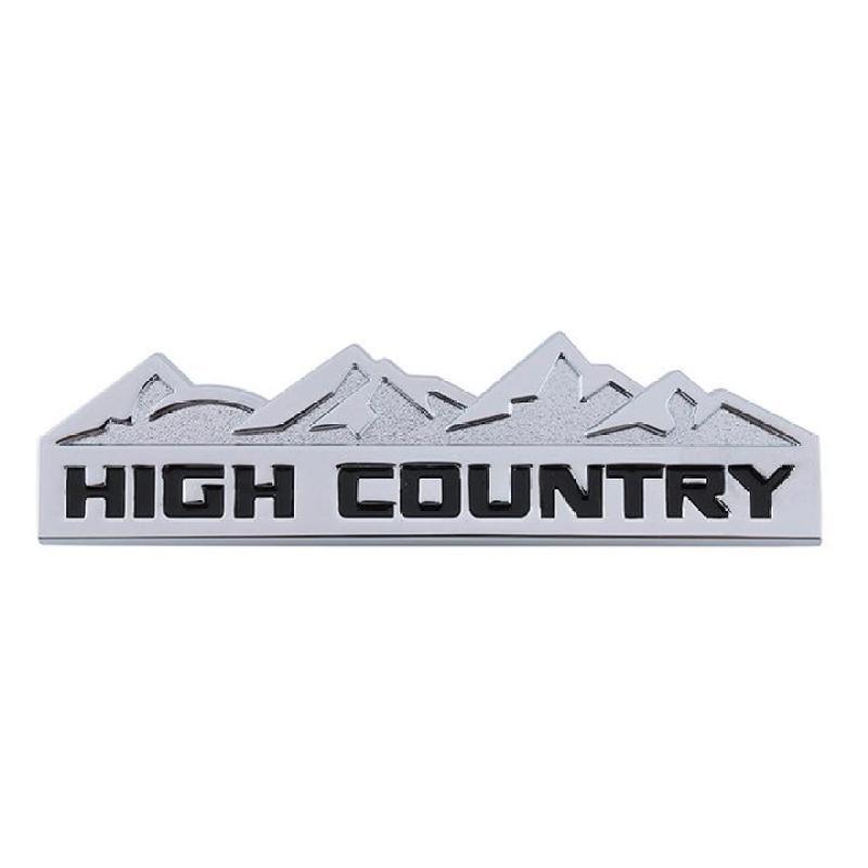 Logo kim loại chữ nổi HIGH COUNTRY dán ô tô